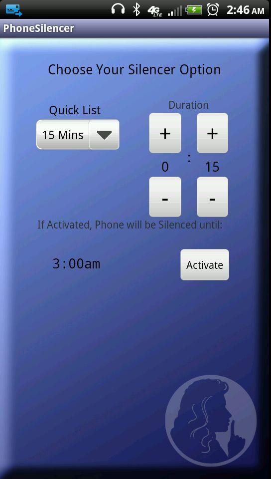 EZ Phone Silencer Main Screen